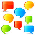 Talk bubbles set of color three dimensional Royalty Free Stock Image