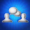 Talk icon on a blue leather background hi res digitally generated image Stock Photo
