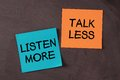 Talk less and listen more notes pasted on blackboard Stock Image