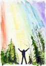 Talk to the angel man looks in sky and about help asks handmade watercolor painting illustration on a white paper art Stock Photo