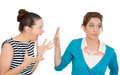 Talk to the hand closeup portrait mad women nagging complaining other lady who is getting pissed off annoyed isolated white Stock Photo