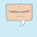Talkative symbol single mouth in cartoon word bubble Stock Photography
