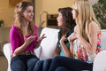 Talking with girl friends Royalty Free Stock Photo