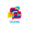 Talking - speech bubbles vector logo concept illustration in flat style. Dialogue icon.