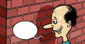 Talking to a brick wall cartoon humor concept illustration of saying or proverb Stock Photos