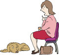 Talking to dog seated woman a disinterested Royalty Free Stock Photo