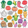 Talking vegetables clip art with polka dots background Royalty Free Stock Images