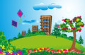 Tall apartment in a long green fields with colorful flowers and bright sky this illustration shows row apartments beautiful plants Royalty Free Stock Photography