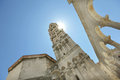 Tall bell tower of the cathedral in Dubrovnik, Eur Royalty Free Stock Photo