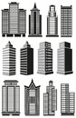 Tall buildings image of black high rise and facades of prospects Stock Photos