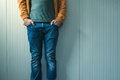 Tall casual man in jeans posing Royalty Free Stock Photo