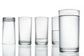 Tall empty, half and full glass of water  on white with Royalty Free Stock Photo