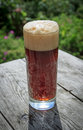 Tall glass full of frothy dark beer on rustic wooden table in summer garden