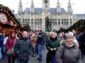 Tall gothic building of Vienna city hall Rathaus and traditional Christmas market