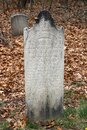Tall gravestone set among others in Southside Cemetery, Saratoga Springs, New York, spring, 2021 Royalty Free Stock Photo