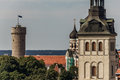 Tall Hermann Tower and Churches Royalty Free Stock Photos