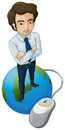 A tall man above the globe with a computer mouse illustration of on white background Stock Image