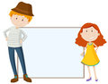 Tall man and short girl by the sign Royalty Free Stock Photo