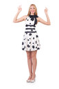 Tall model dressed in dress with polka dosts on white Stock Photo