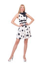 Tall model dressed in dress with polka dosts on white Royalty Free Stock Image
