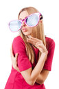 Tall model with giant sunglasses on white Stock Image