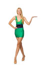 The tall model in mini green dress isolated on white Royalty Free Stock Photo