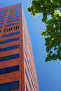 Tall modern brick office building vertical Royalty Free Stock Photography