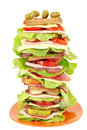 Tall sandwich on white background Stock Photography