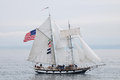 Tall ship amazing grace a square topsail schooner she is an interpretation of an american letter of marque vessel of the same name Stock Photography