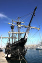 Tall Ship in Barcelona's port on Sunny Morning Royalty Free Stock Image