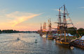 Tall ship celebration in bay city michigan july ships at berth on the saginaw river with s downtown the background the ships Stock Image