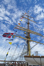 Tall ship the mast of a big in the harbour of hamilton ontario canada Stock Image