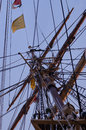 Tall ship mast of with rope ladders Royalty Free Stock Photography