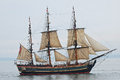 Tall ship replica bounty built for movie reconstruction of the original royal navy sailing hms sank off the coast of north Royalty Free Stock Photos
