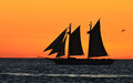 Tall Ship at Sunset Stock Photo