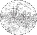 Tall Ship Turbulent Sea Serpents Black and White Drawing