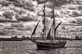 Tall ship on warnow river hanse sail parade rostock germany Royalty Free Stock Photos