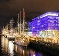 Tall ships moored at the liffey - Dublin Royalty Free Stock Photo
