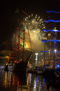 Tall Ships port fireworks Royalty Free Stock Photo