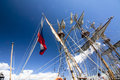 THE TALL SHIPS RACES KOTKA 2017. Kotka, Finland 16.07.2017. Masts of ship Shtandart in the sunlight in the port of Kotka, Finland. Royalty Free Stock Photo
