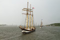 Tall ships on warnow river hanse sail parade rostock germany Stock Image
