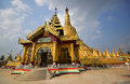 Tallest stupa in burma of shwemawdaw pagoda at bago myanmar it is often referred to as the golden god temple shwemadaw together Royalty Free Stock Photography