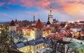 Tallin city, Estonia at sunrise Royalty Free Stock Photo