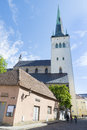 Tallin estonia tallinn june view on the st olav s church in the tallinn old town Stock Image