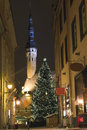 Tallin Old town in Christmas at night Stock Images