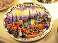 Tallinn ceramic souvenir plate with the sights of Stock Photos