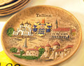 Tallinn ceramic souvenir plate with the sights of Stock Images