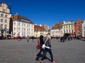 Tallinn estonia market square town hall square raekoja plats april on a sunny afternoon s is a popular gathering spot for Royalty Free Stock Photos