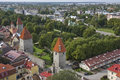 Tallinn estonia old skyline with st olaf oleviste church Royalty Free Stock Image