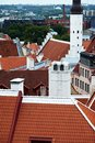 Tallinn estonia terracotta rooftop skyline Stock Photography